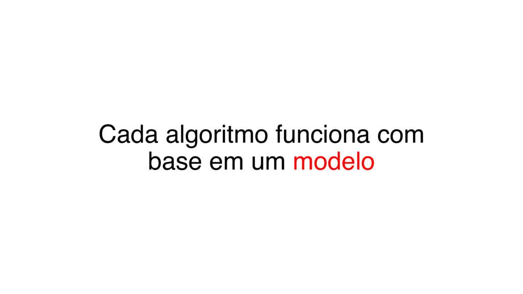 Cada algoritmo funciona com base em um modelo