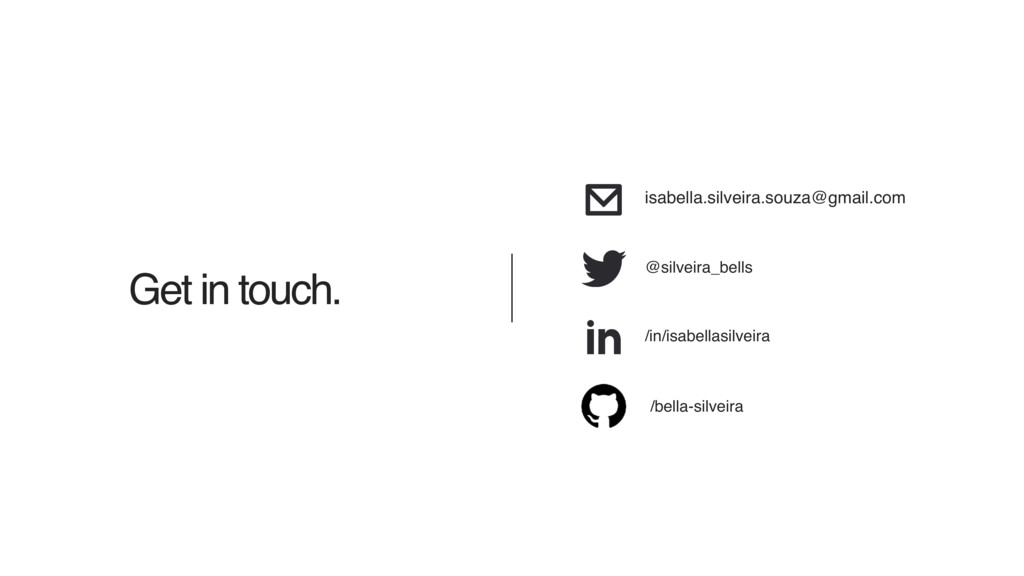 Get in touch. /in/isabellasilveira isabella.sil...