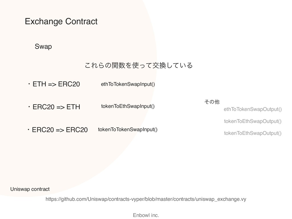 Enbowl inc. Exchange Contract Swap ethToTokenSw...