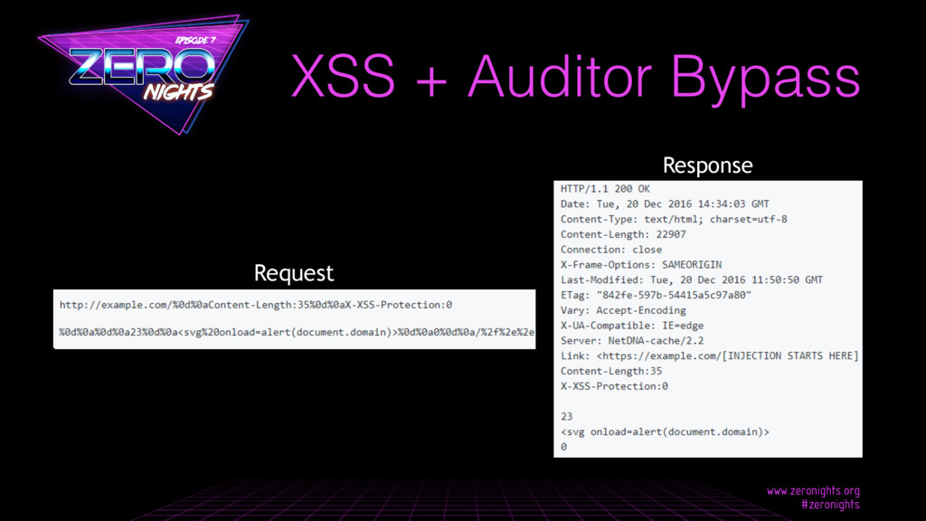 XSS + Auditor Bypass Response Request