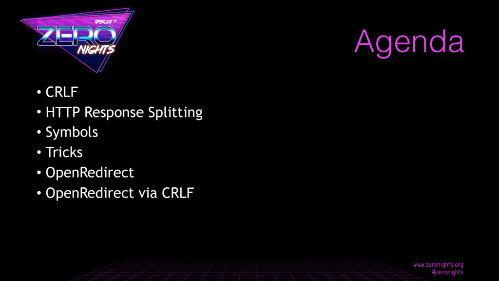 • CRLF • HTTP Response Splitting • Symbols • Tr...