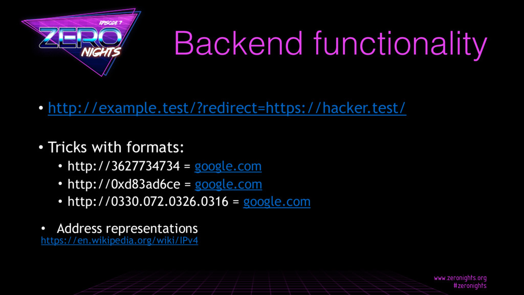 Backend functionality • http://example.test/?re...