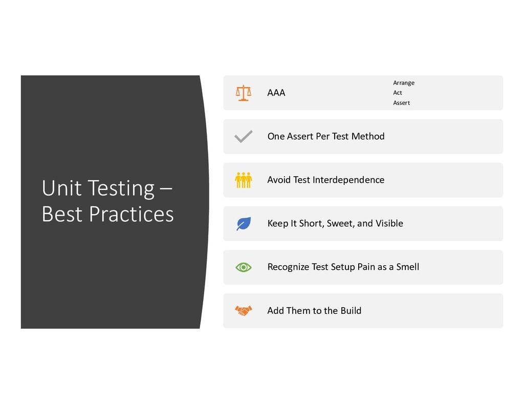Unit Testing – Best Practices AAA Arrange Act A...