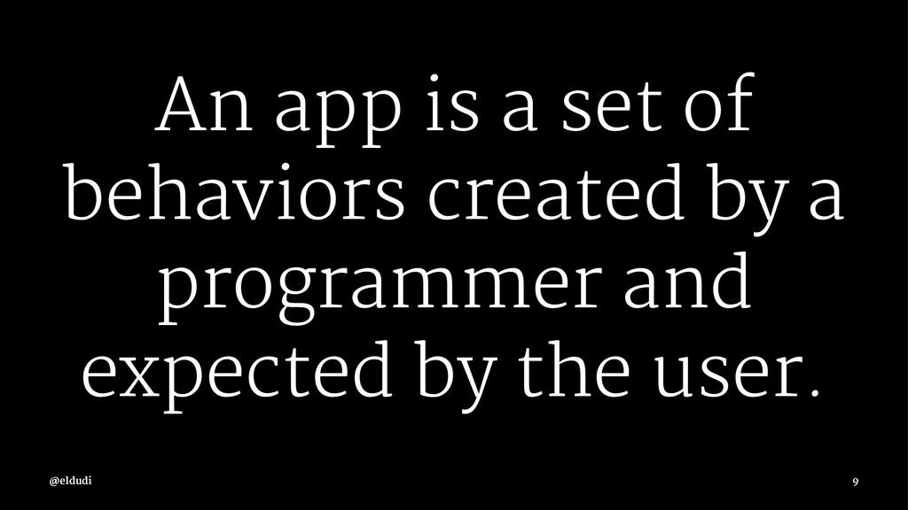 An app is a set of behaviors created by a progr...