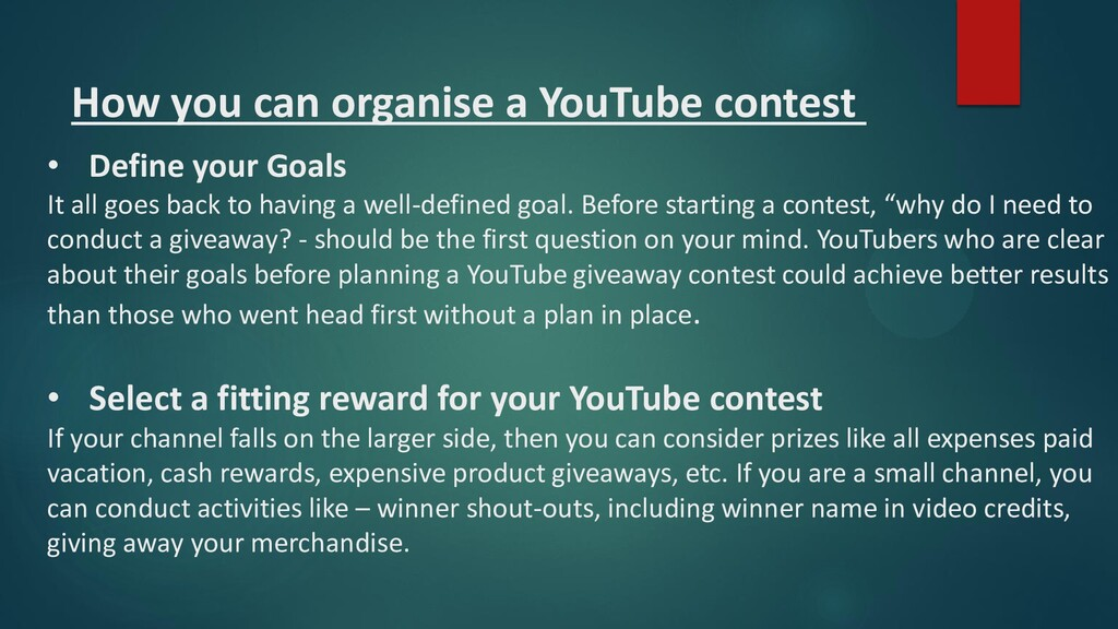 How you can organise a YouTube contest • Define...
