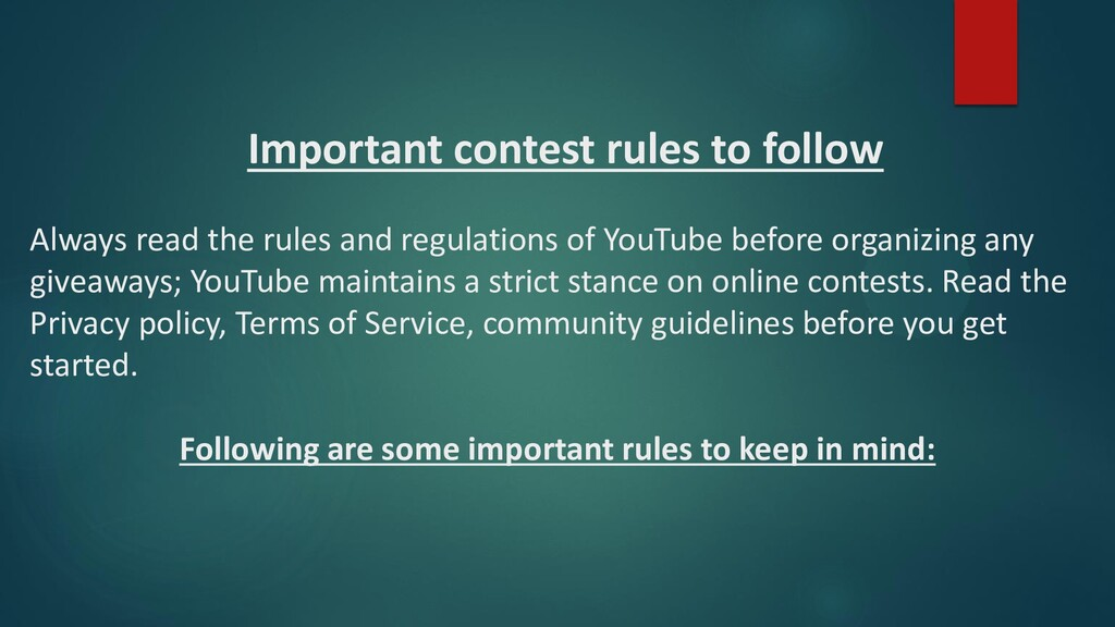 Important contest rules to follow Always read t...