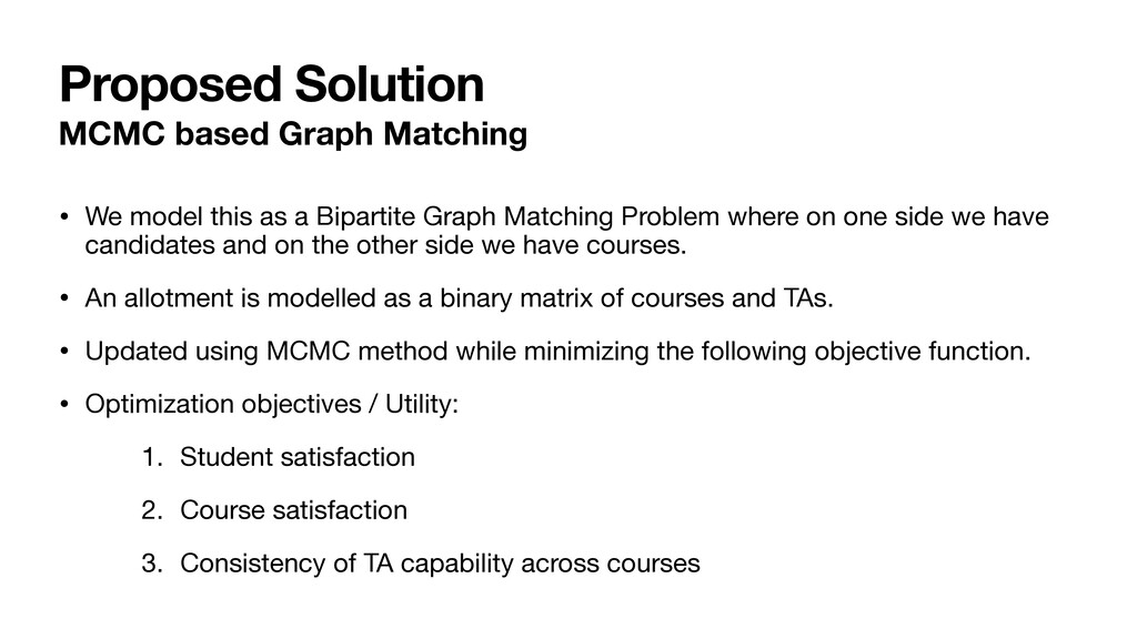 Proposed Solution MCMC based Graph Matching • W...