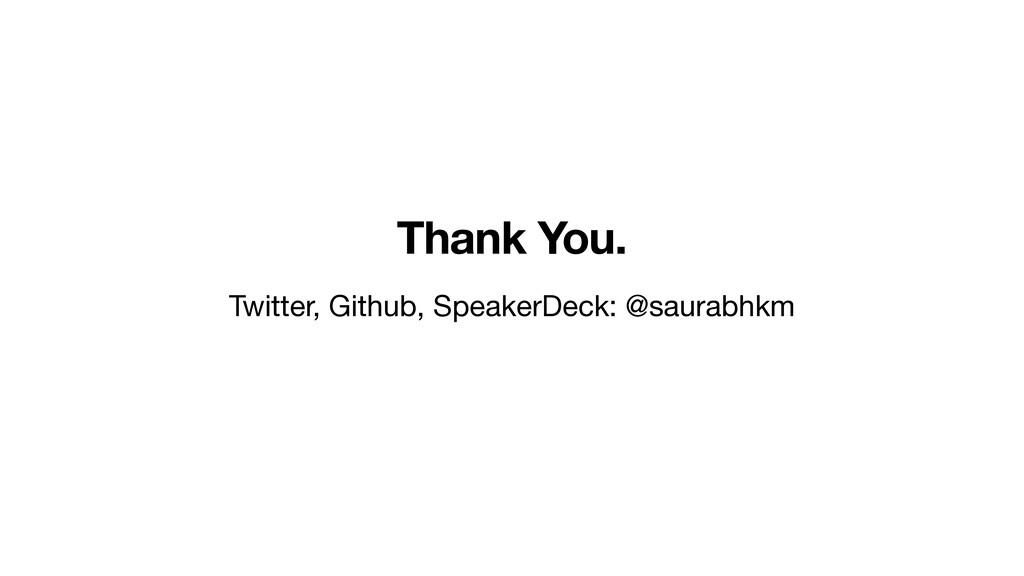 Thank You. Twitter, Github, SpeakerDeck: @saura...
