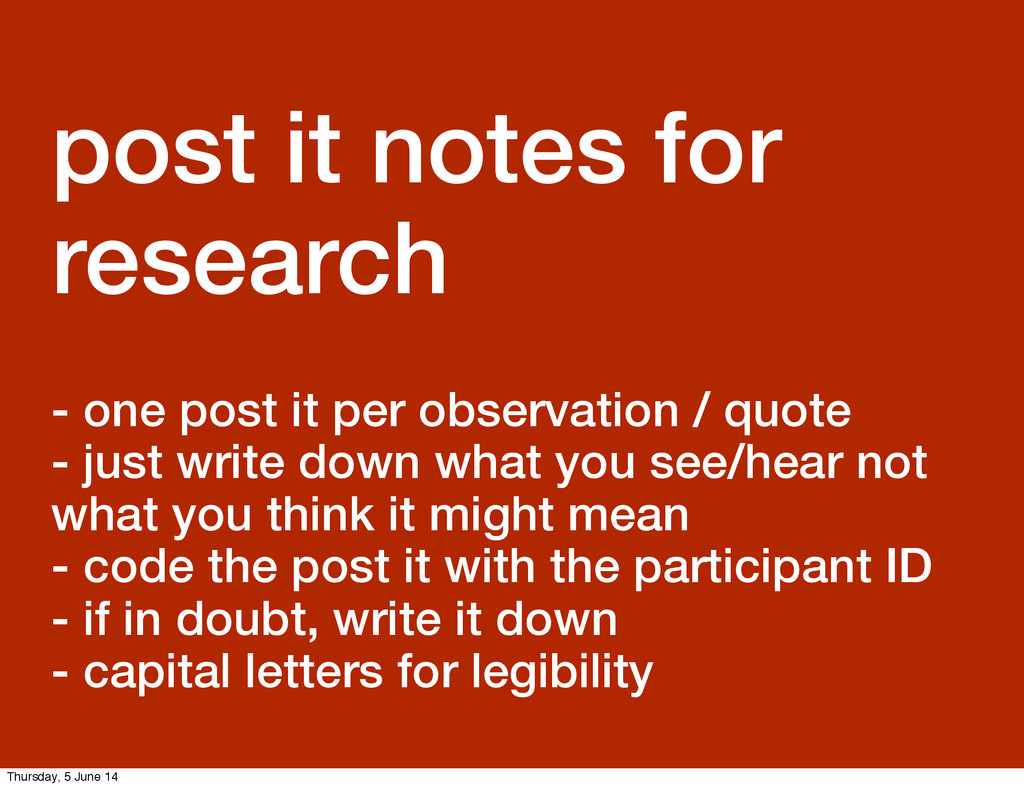 GDS Leisa post it notes for research - one post...