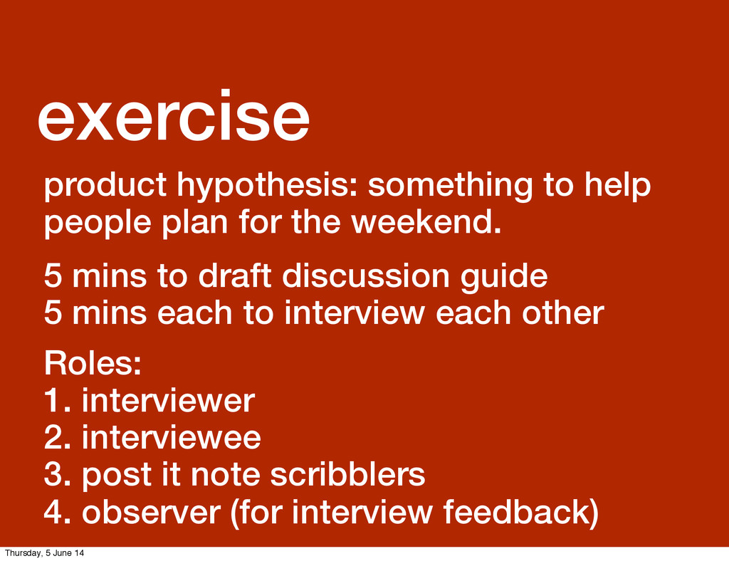 GDS Leisa exercise product hypothesis: somethin...