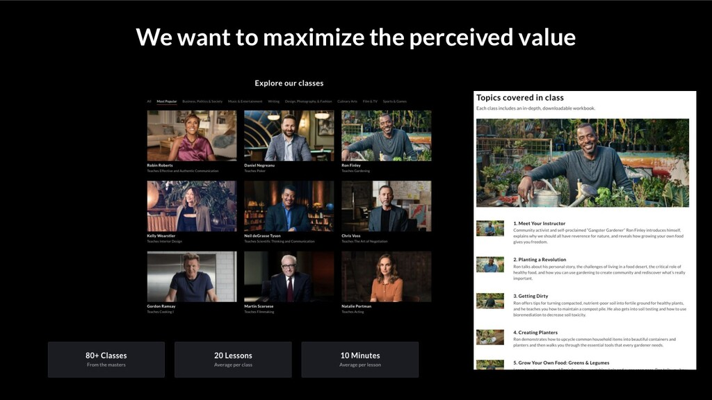 We want to maximize the perceived value