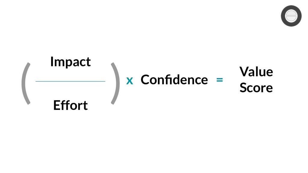 Impact Effort ( ) Confidence x = Value Score