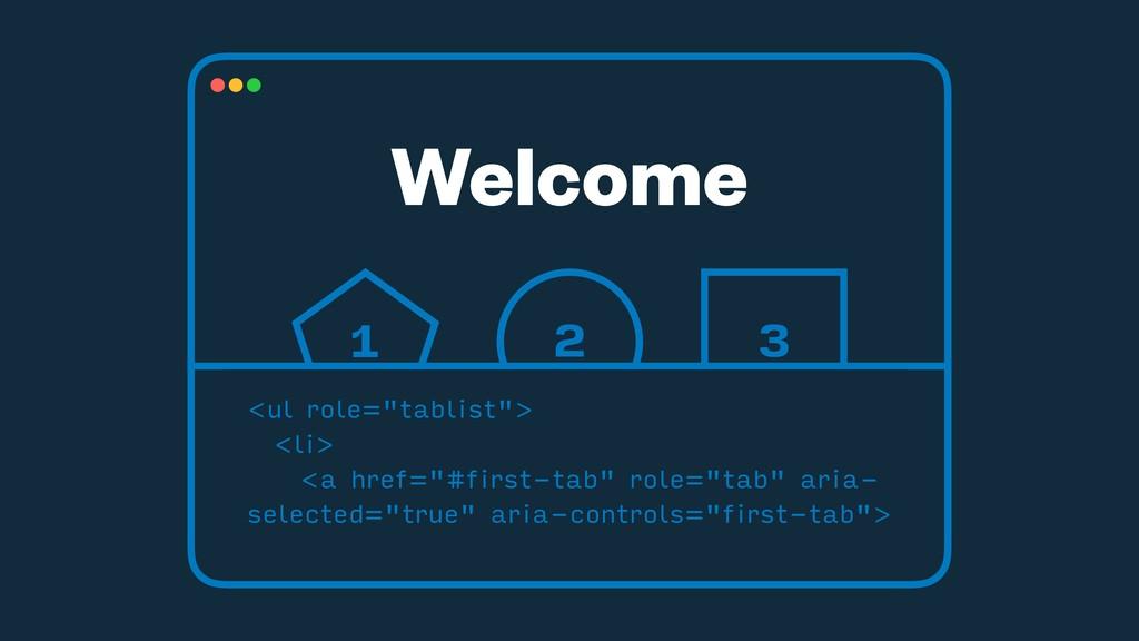"Welcome 1 2 3 <ul role=""tablist""> <li> <a href=..."