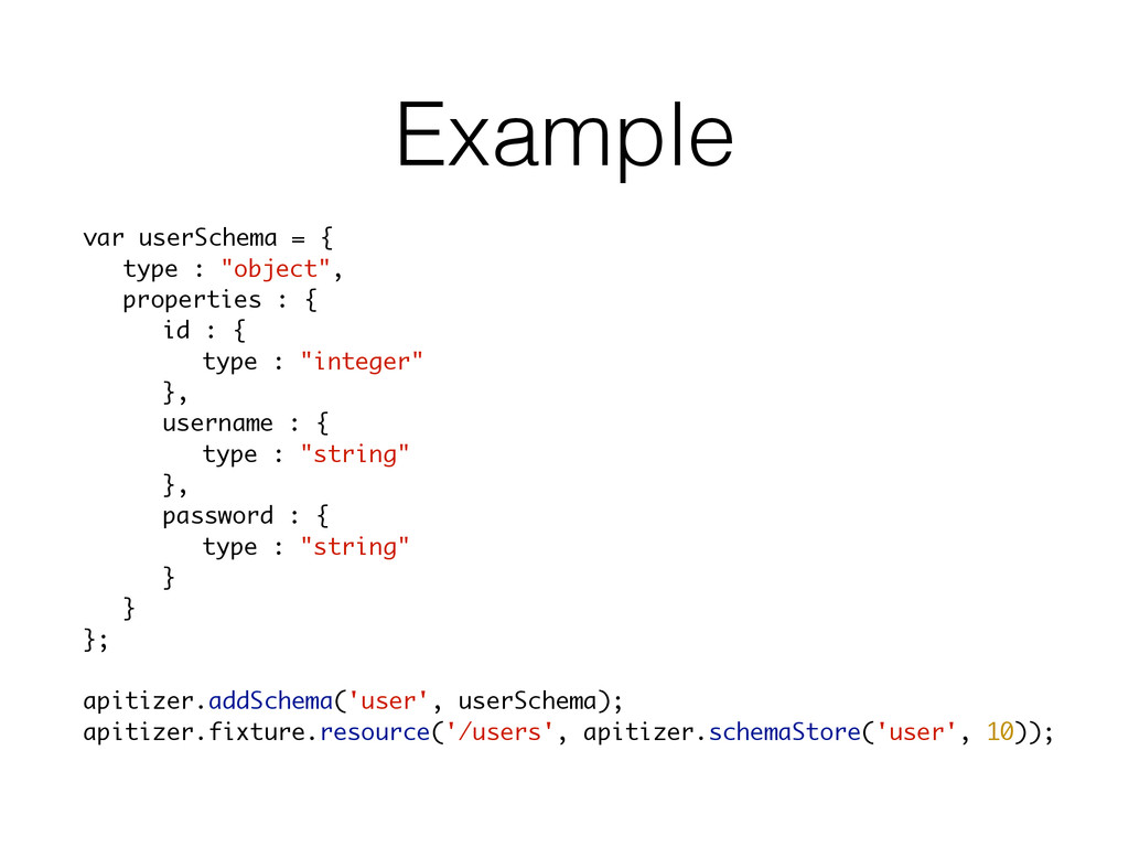 "Example var userSchema = { type : ""object"", pro..."