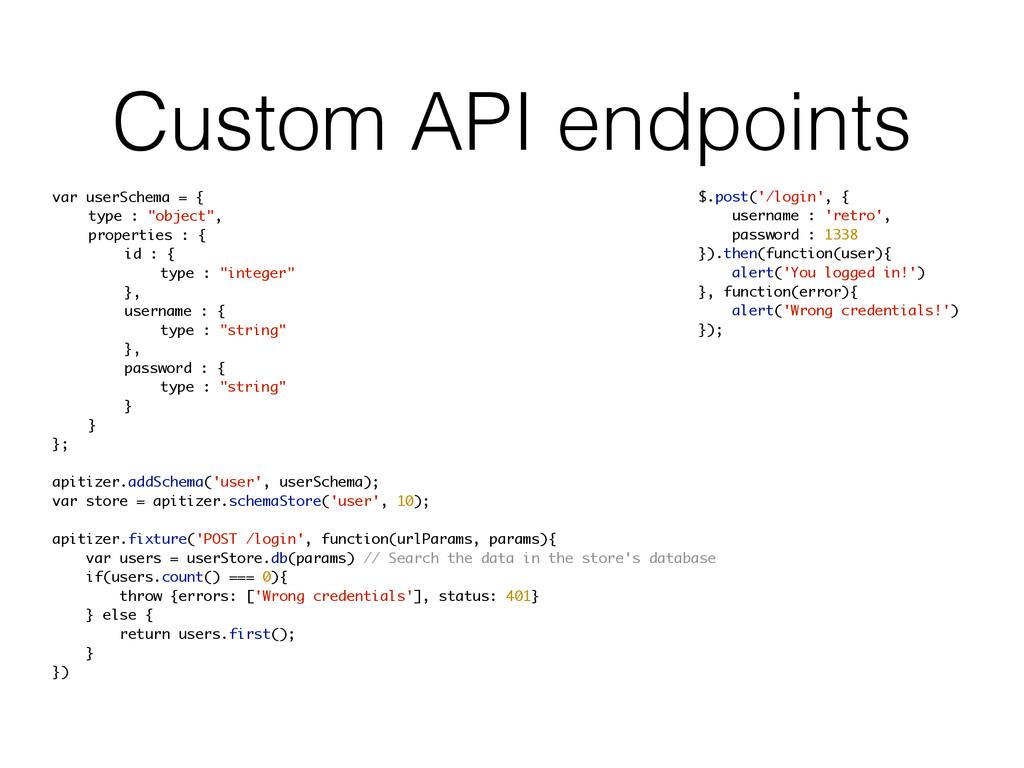 Custom API endpoints var userSchema = { type : ...