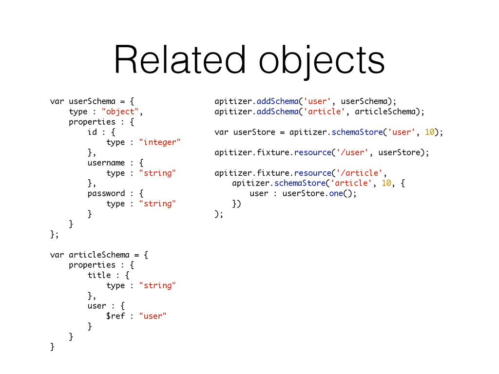 """Related objects var userSchema = { type : """"obje..."""