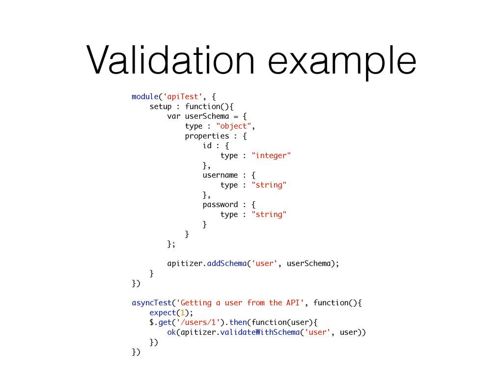 Validation example module('apiTest', { setup : ...