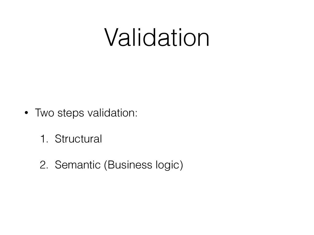 Validation • Two steps validation: 1. Structura...