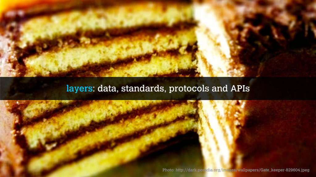 layers: data, standards, protocols and APIs Pho...