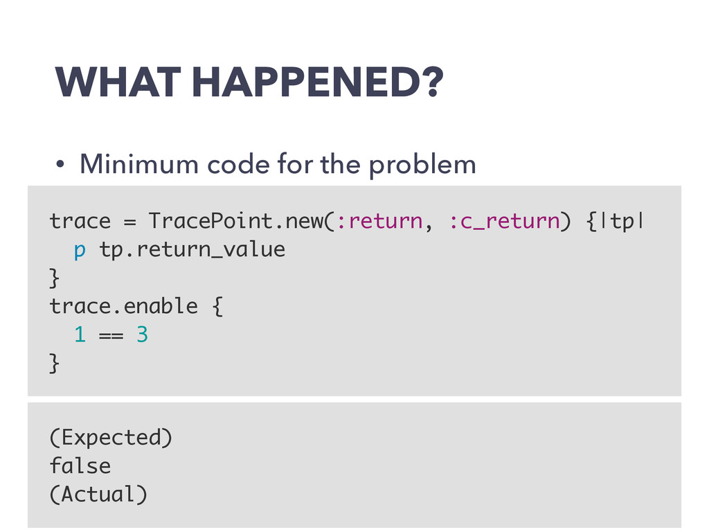 WHAT HAPPENED? • Minimum code for the problem t...