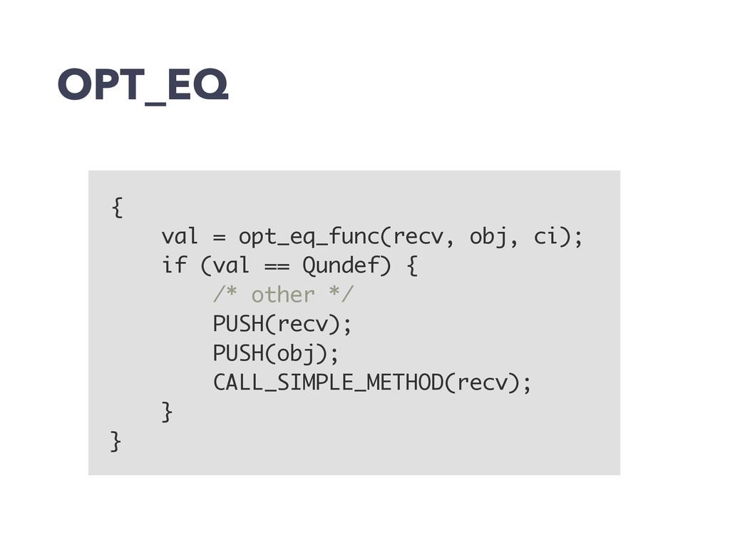 OPT_EQ { val = opt_eq_func(recv, obj, ci); if (...