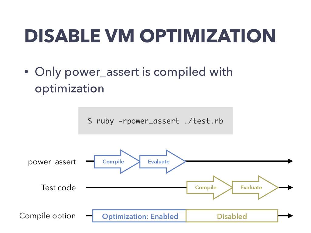 DISABLE VM OPTIMIZATION • Only power_assert is ...