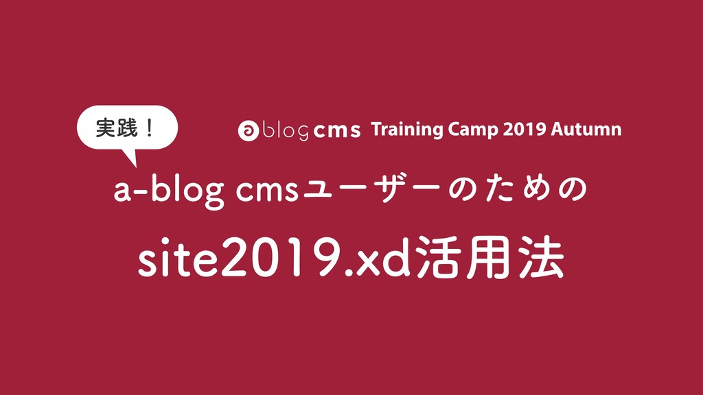 Training Camp 2019 Autumn a-blog cmsユーザーのための si...