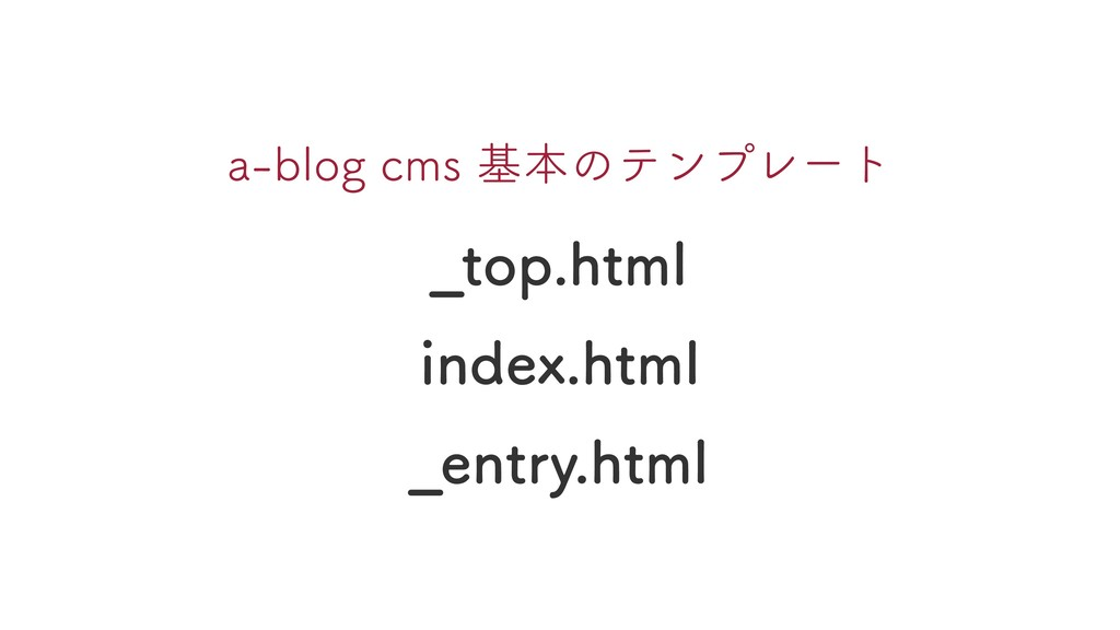 _top.html index.html _entry.html a-blog cms 基本の...