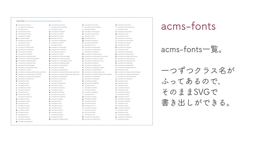 acms-fonts acms-fonts⼀覧。 ⼀つずつクラス名が ふってあるので、 そのま...