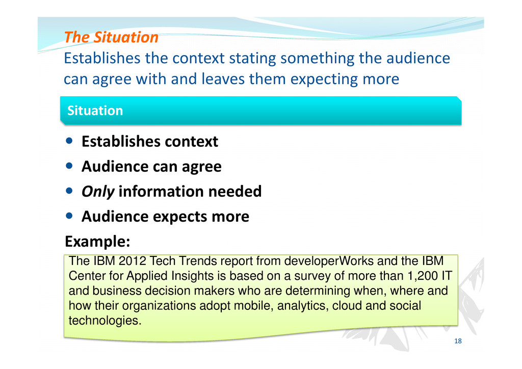 Establishes context Audience can agree Only inf...