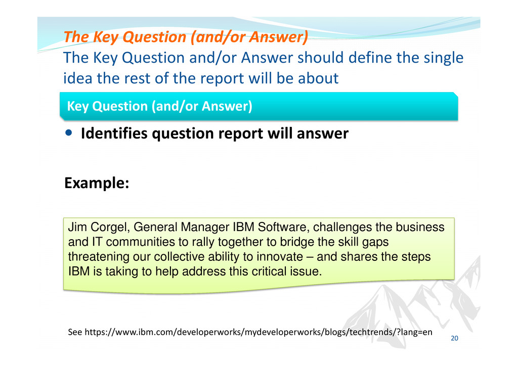 Identifies question report will answer Example:...