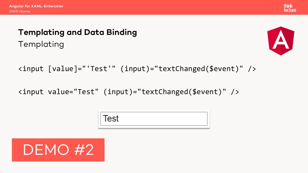 "Templating <input [value]=""'Test'"" (input)=""tex..."