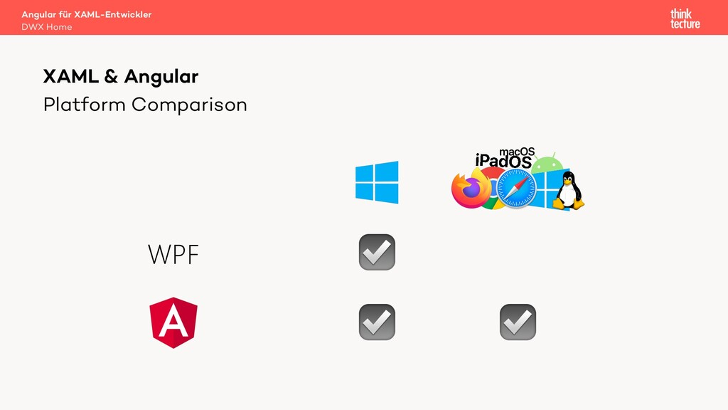 Platform Comparison XAML & Angular ☑ ☑ ☑ WPF An...