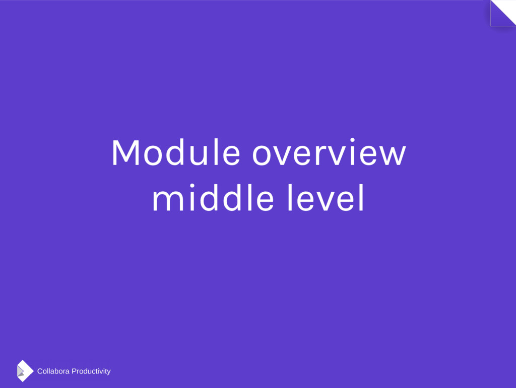 Module overview middle level