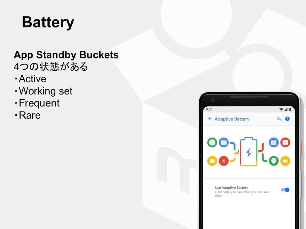 Battery App Standby Buckets 4つの状態がある ・Active ・W...