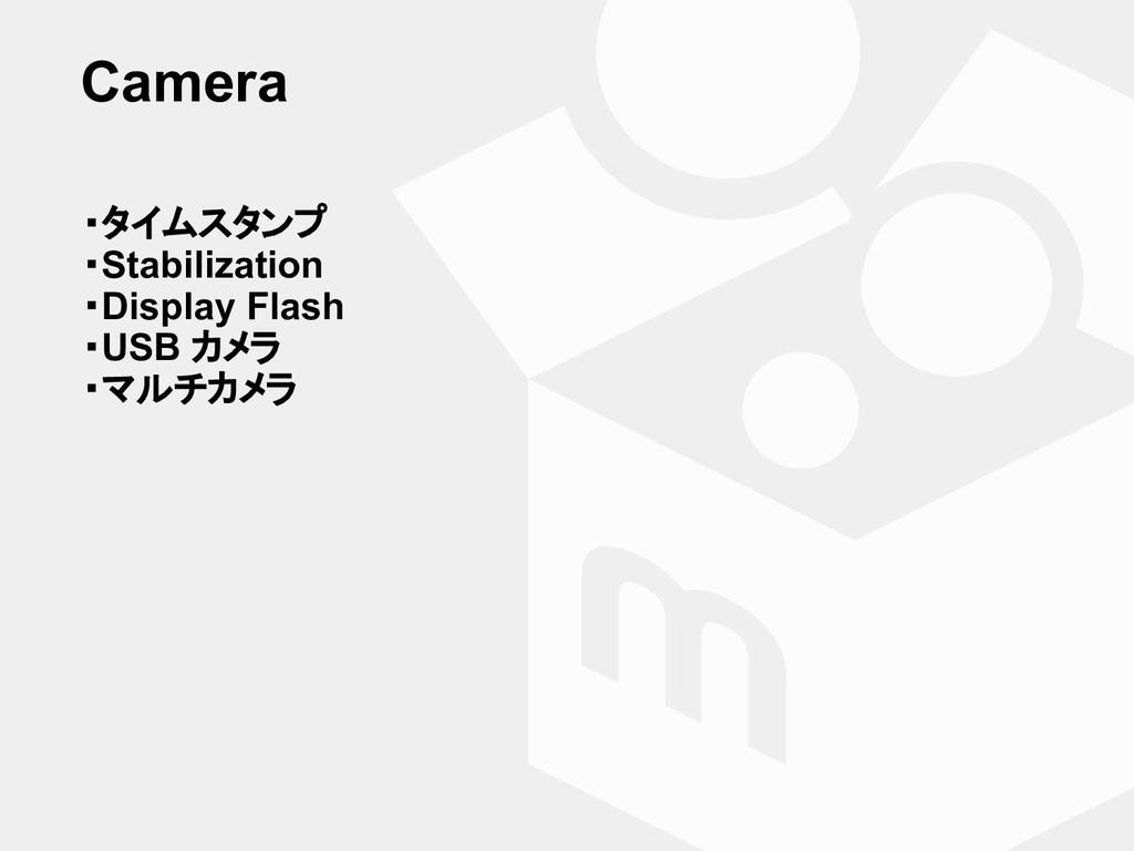 Camera ・タイムスタンプ ・Stabilization ・Display Flash ・...
