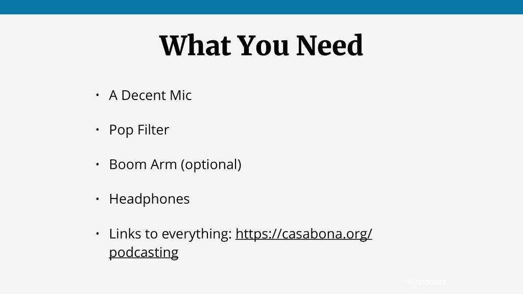 @jcasabona What You Need • A Decent Mic • Pop F...
