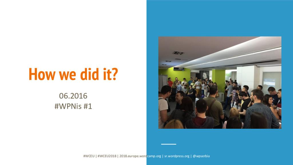 How we did it? 06.2016 #WPNis #1 #WCEU   #WCEU2...