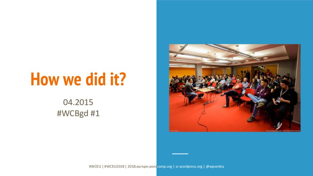 How we did it? 04.2015 #WCBgd #1 #WCEU   #WCEU2...