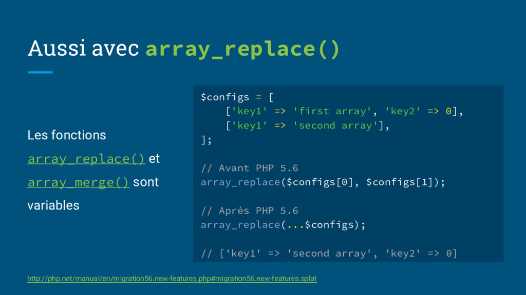 Les fonctions array_replace() et array_merge() ...