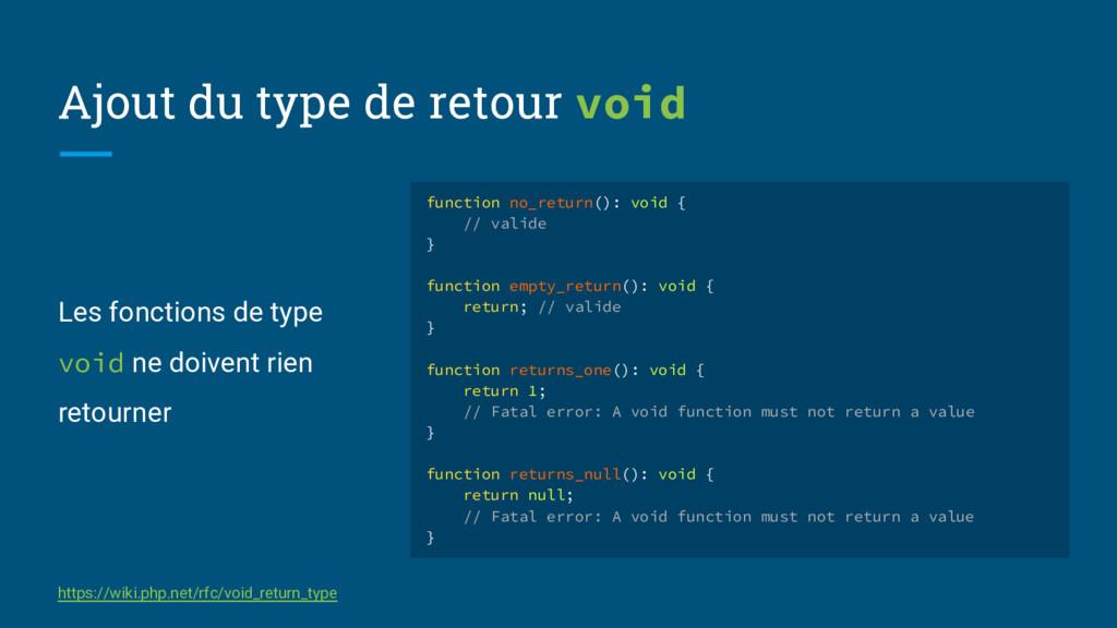 Les fonctions de type void ne doivent rien reto...