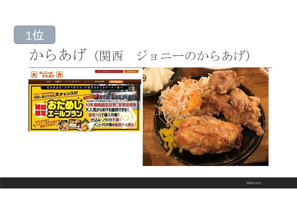 からあげ(関西 ジョニーのからあげ) 2020/12/12 1位