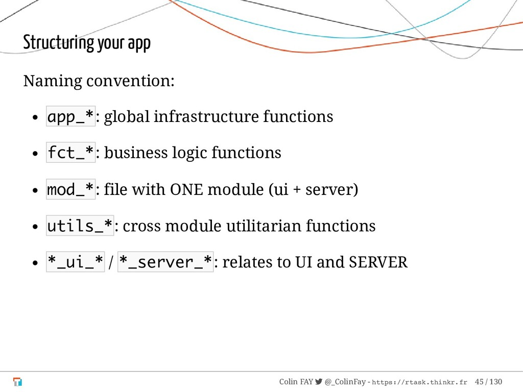 Structuring your app Naming convention: app_*: ...