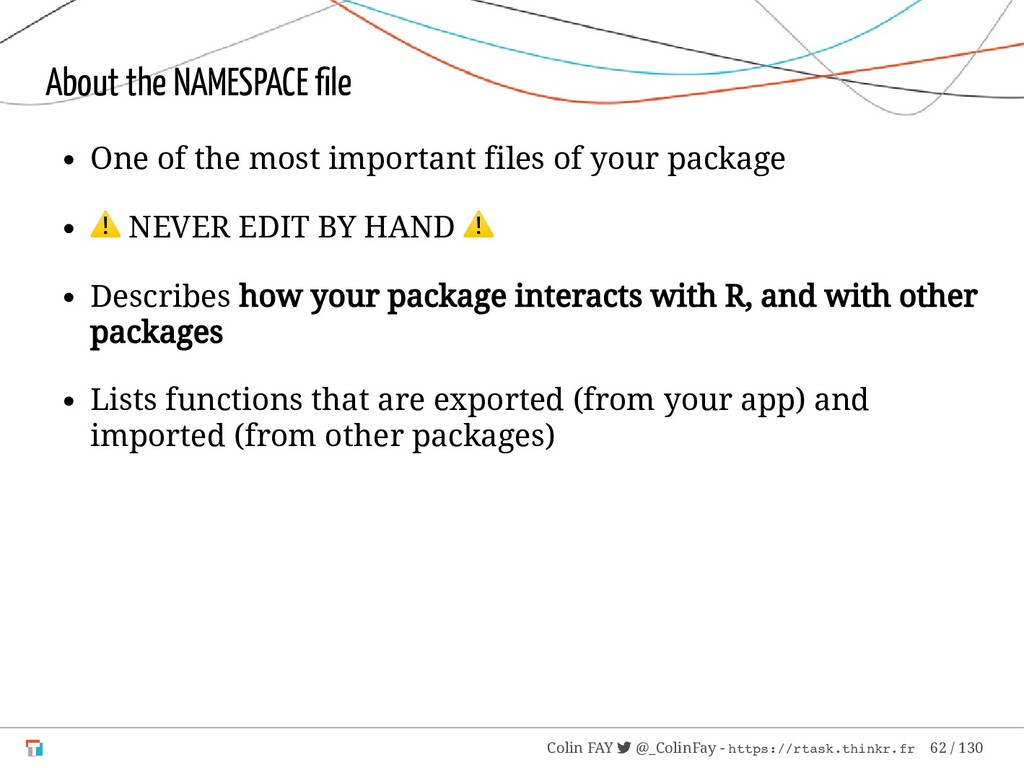 About the NAMESPACE file One of the most importa...