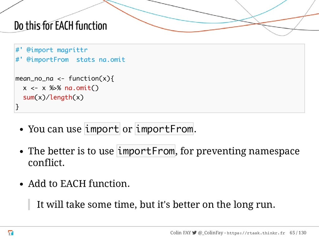 Do this for EACH function #' @import magrittr #...