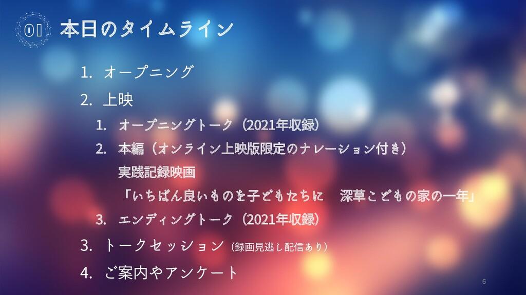 6 本日のタイムライン 01 1. オープニング 2. 上映 1. オープニングトーク(202...