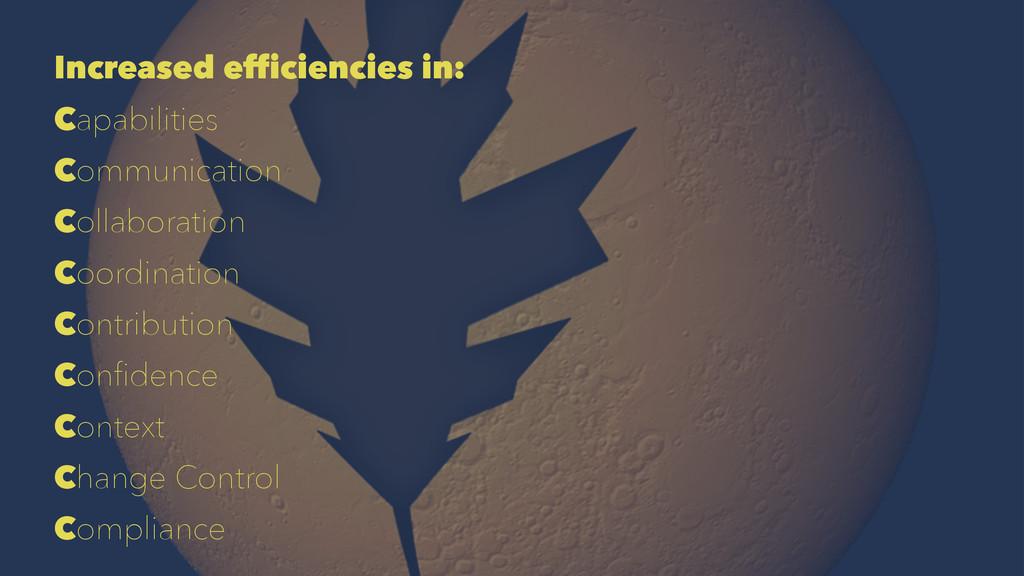 Increased efficiencies in: Capabilities Communi...