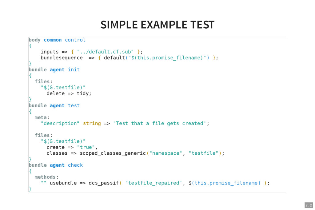 7 . 2 SIMPLE EXAMPLE TEST body common control {...