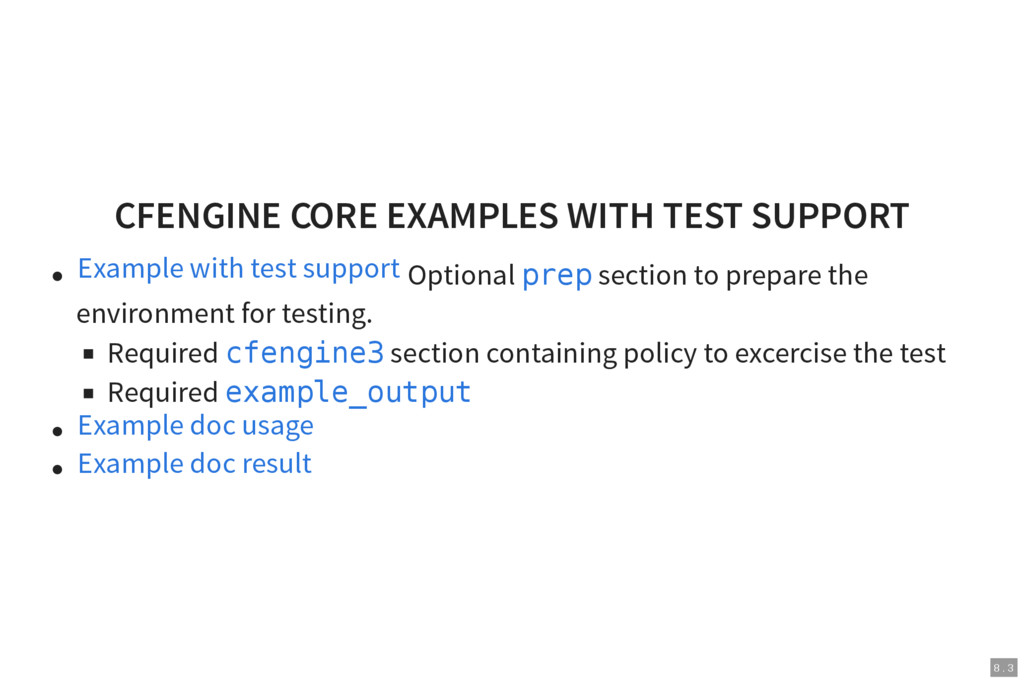 8 . 3 CFENGINE CORE EXAMPLES WITH TEST SUPPORT ...