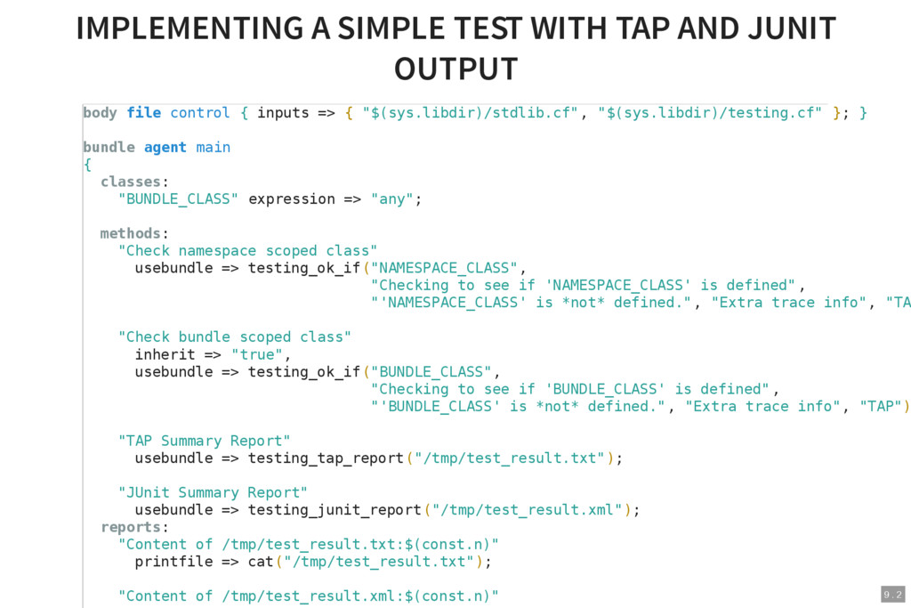 9 . 2 IMPLEMENTING A SIMPLE TEST WITH TAP AND J...